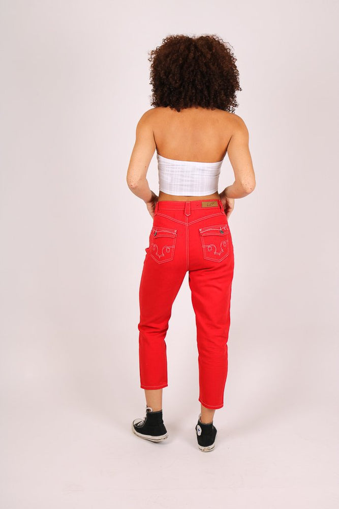 Rodeo western mom jeans in deep red - Liquor N Poker  LIQUOR N POKER