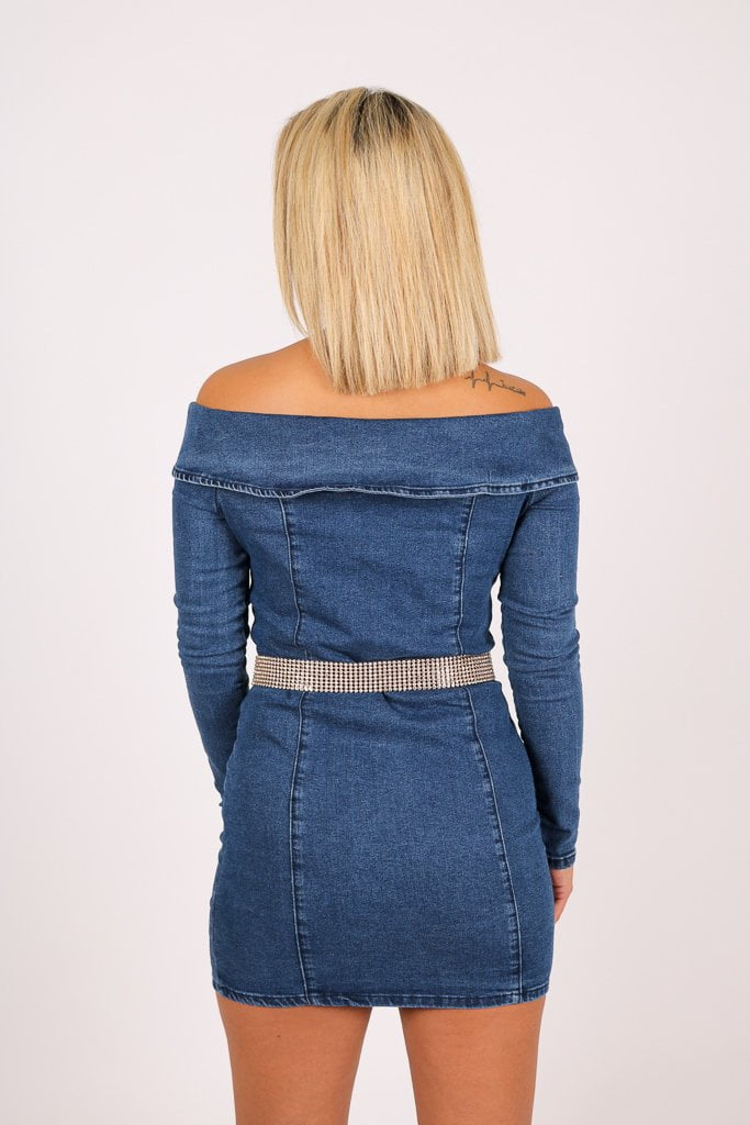 Anais Off the shoulder denim mini dress with diamante belt - Liquor N Poker  Liquor N Poker