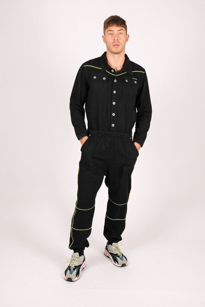 Formentera denim boilersuit with neon piping - Liquor N Poker  Liquor N Poker
