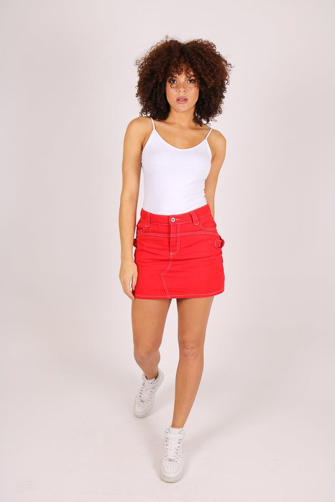 Rodeo mini denim skirt in deep red - Liquor N Poker  LIQUOR N POKER