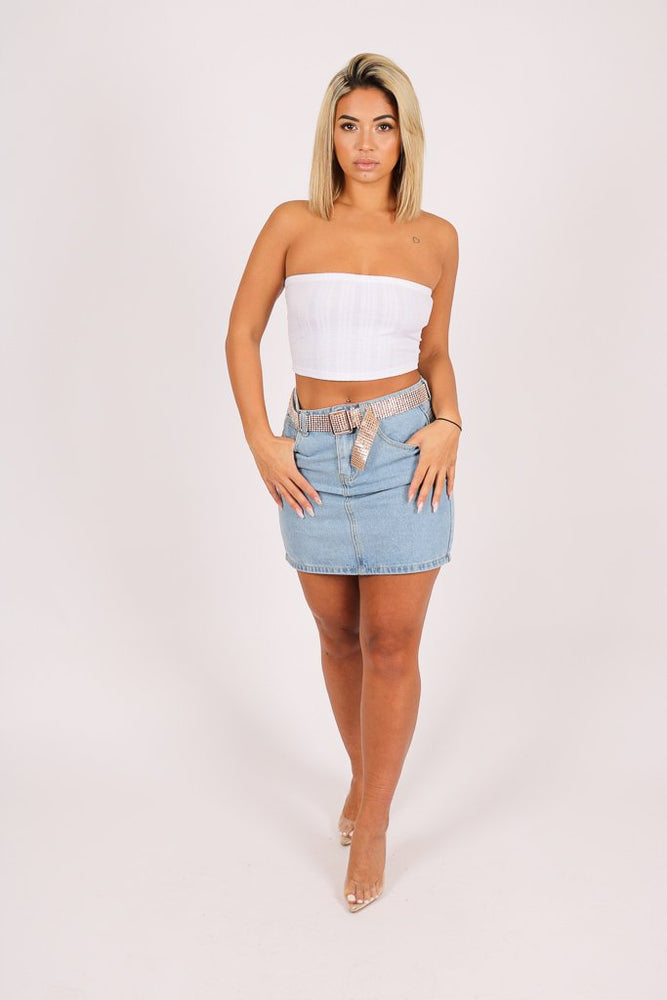 Glitzy denim mini skirt with diamante belt - Liquor N Poker  LIQUOR N POKER