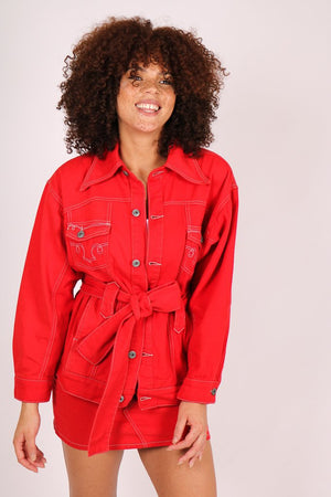Rodeo belted western denim jacket in deep red - Liquor N Poker  LIQUOR N POKER
