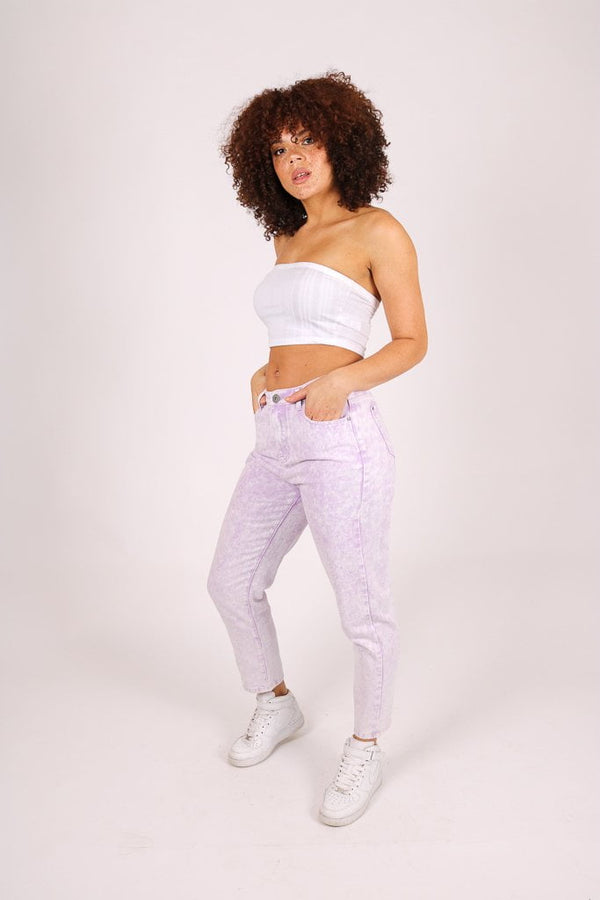 Outta Limits High rise mom jean in lilac acid wash