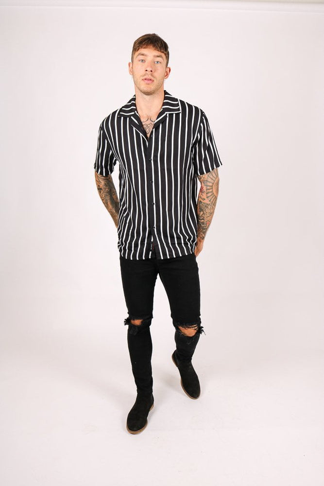 REVERE SHIRT BLACK WHITE FINE PIN STRIPE OVERSIZED RELAXED SHIRT