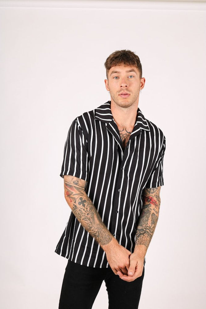 REVERE SHIRT BLACK WHITE FINE PIN STRIPE OVERSIZED RELAXED SHIRT - Liquor N Poker  LIQUOR N POKER