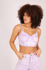 Outta limit denim crop top in lilac acid wash - Liquor N Poker  LIQUOR N POKER