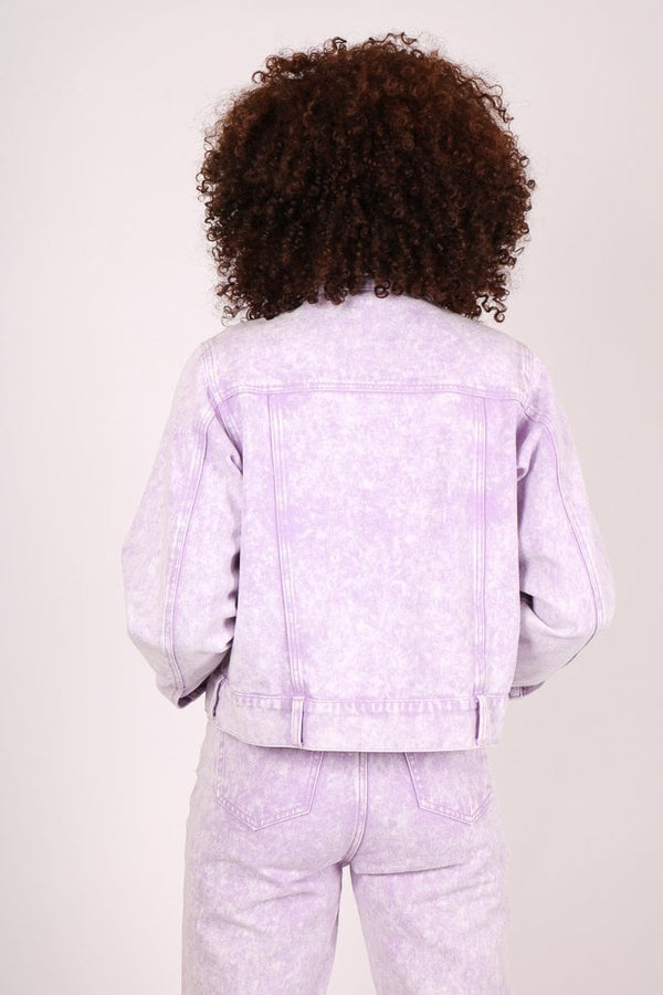 Outta Limits oversized utility denim jacket in lilac acid wash