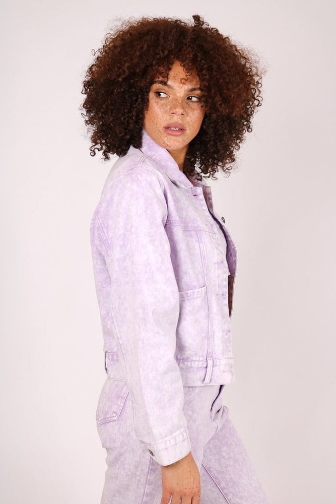Outta Limits oversized utility denim jacket in lilac acid wash - Liquor N Poker  LIQUOR N POKER