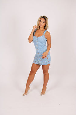 Gemstone denim dress in vintage stonewash - Liquor N Poker  Liquor N Poker