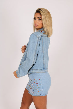 Delaware cropped denim jacket with gemstones - Liquor N Poker  LIQUOR N POKER