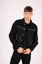 Formentera neon piping denim jacket in black