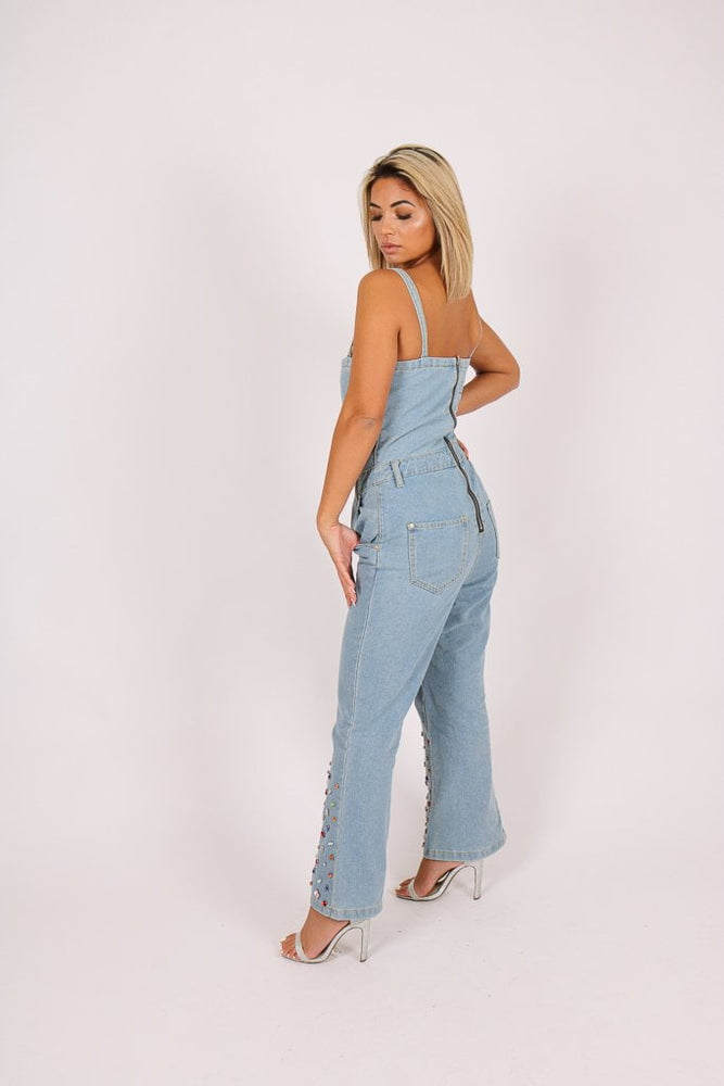 Gemstone denim jumpsuit with kickflare and gemstones - Liquor N Poker  Liquor N Poker