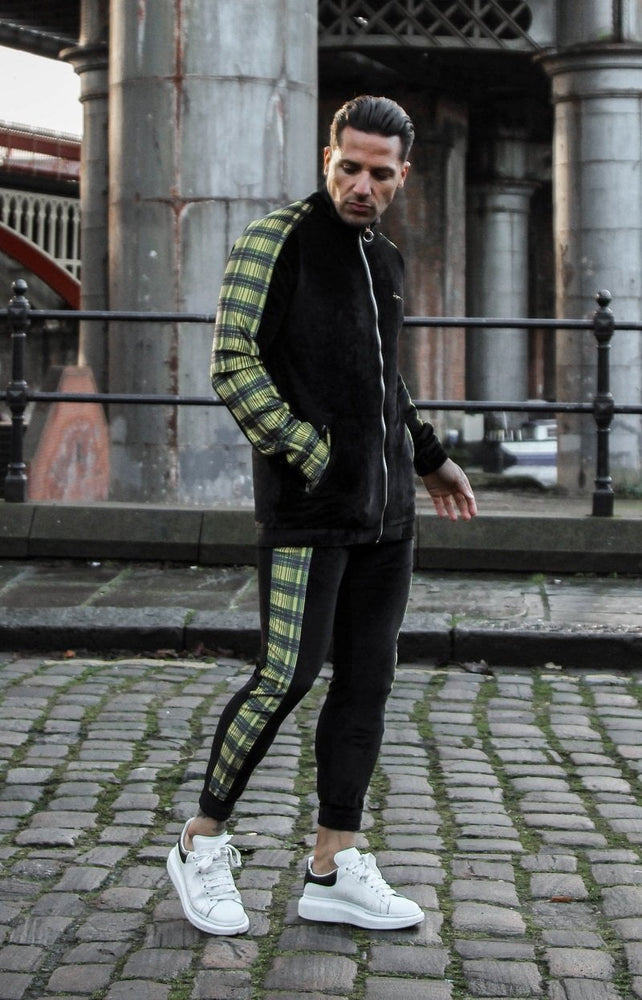 CLEVELAND SLIM FIT VELOUR TRACKSUIT  WITH YELLOW TARTAN STRIPE - Liquor N Poker  LIQUOR N POKER