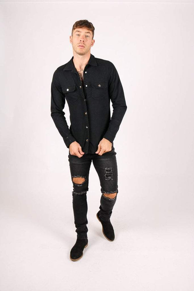 LOGAN SKINNY JEAN OPEN RIPS AND ANKLE ZIP