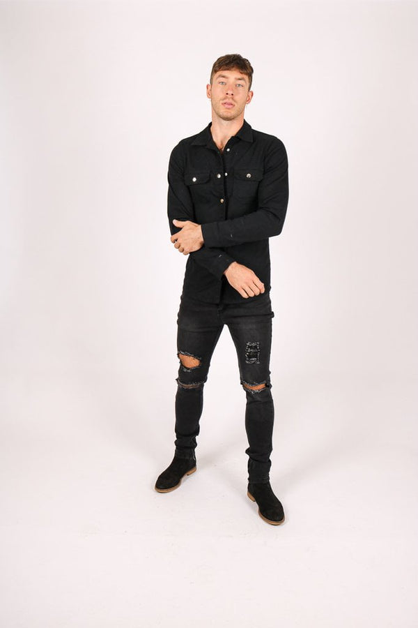 Liquor n Poker Muscle fit stretch denim shirt in black