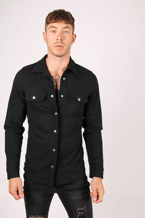 Liquor n Poker Muscle fit stretch denim shirt in black - Liquor N Poker  LIQUOR N POKER