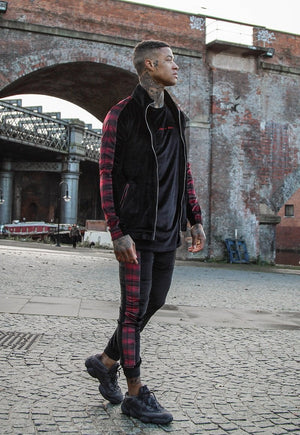 CLEVELAND SLIM FIT VELOUR TRACKSUIT  WITH RED TARTAN STRIPE - Liquor N Poker  LIQUOR N POKER