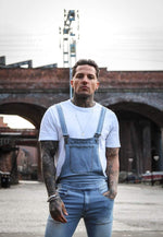 NEVADA STONEWASH DUNGAREE WITH BLACK AND WHITE SPORTS STRIPE