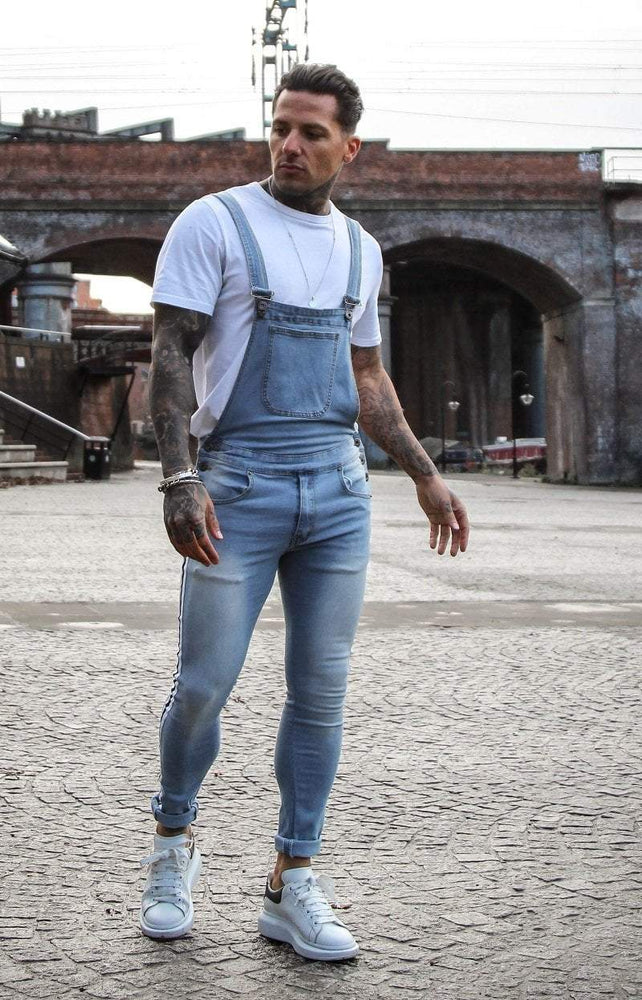 NEVADA STONEWASH DUNGAREE WITH BLACK AND WHITE SPORTS STRIPE - Liquor N Poker  LIQUOR N POKER