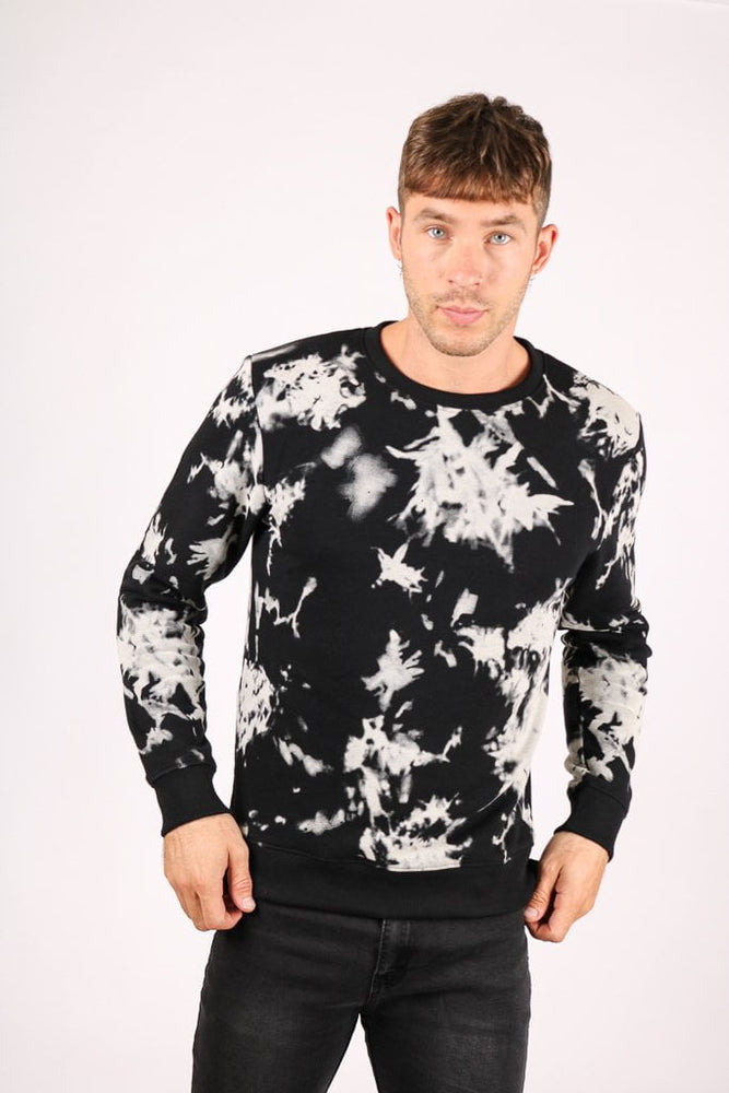 Tie Dye Jumper in Black - Liquor N Poker  LIQUOR N POKER