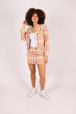 Clueless in life cropped denim jacket in yellow check - Liquor N Poker  Liquor N Poker