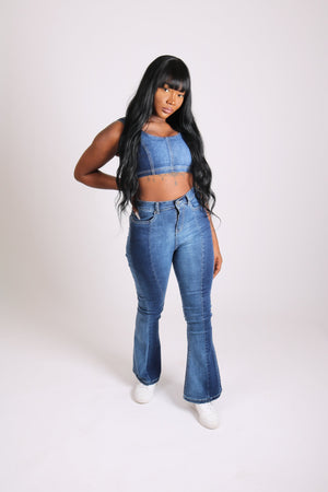 Vice Versa Denim panelled crop top - Liquor N Poker  LIQUOR N POKER