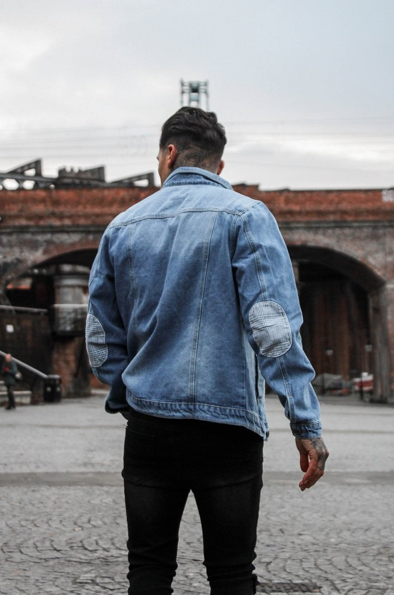 OVERSIZED VINTAGE DENIM JACKET WITH PRINCE WALES CHECK ELBOW PATCHES