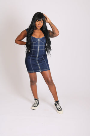 Load image into Gallery viewer, Vice versa denim mini dress with contrast stitch - Liquor N Poker  LIQUOR N POKER