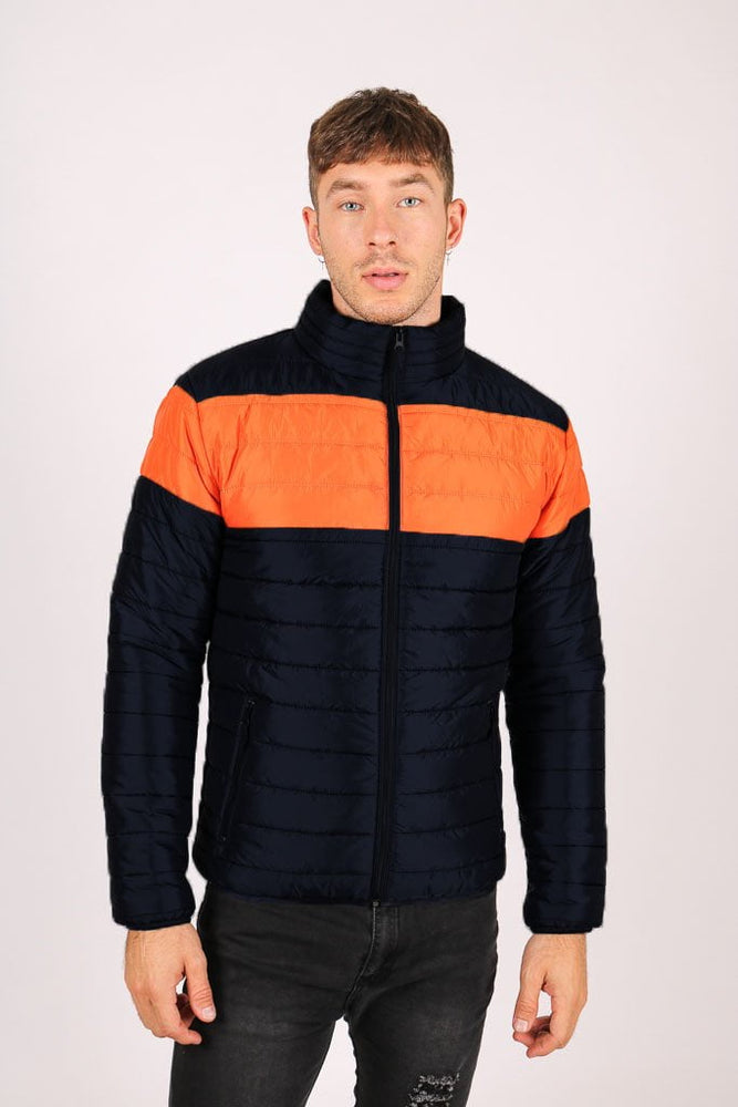 Liquor n Poker St Anton Puffer Jacket in black and orange - Liquor N Poker  LIQUOR N POKER