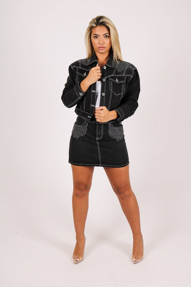 Load image into Gallery viewer, Baby one more time denim jacket with diamante trim - Liquor N Poker  LIQUOR N POKER