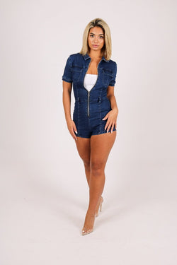 OMG Super stretch denim playsuit