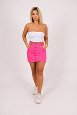Candy mini denim skirt in pink