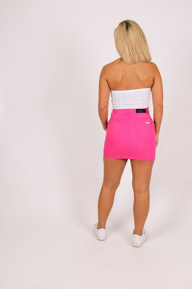 Candy mini denim skirt in pink - Liquor N Poker  LIQUOR N POKER