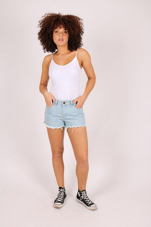 High rise denim shorts in light stonewash - Liquor N Poker  LIQUOR N POKER