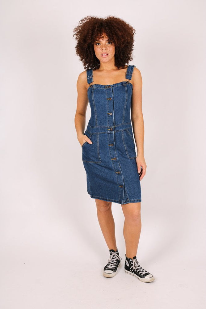 Skye vintage denim pinnafore - Liquor N Poker  LIQUOR N POKER