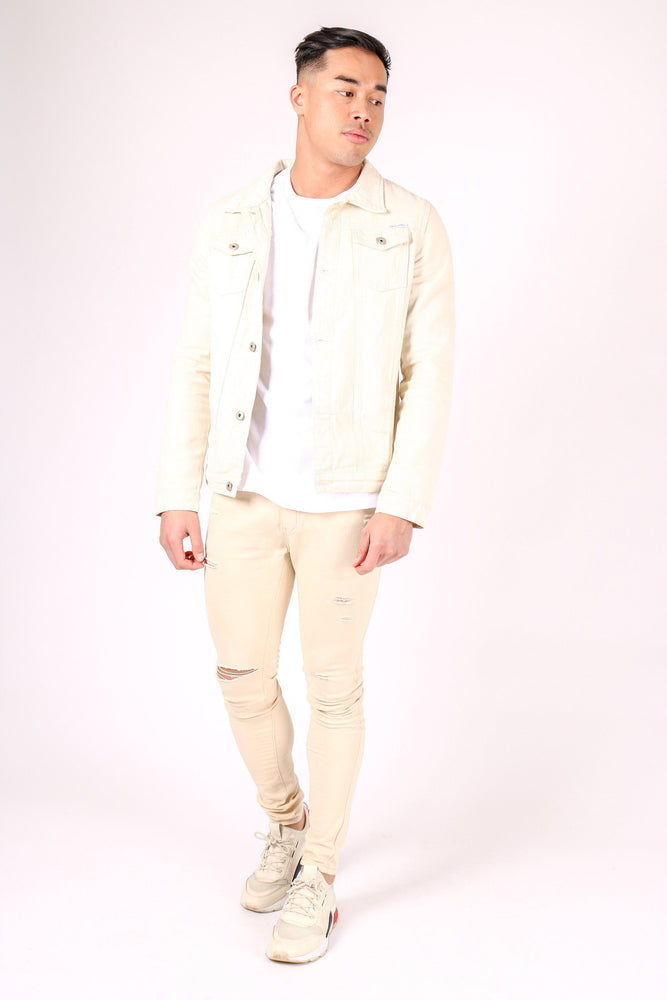 Norton slim fit denim jacket in ecru - Liquor N Poker  LIQUOR N POKER