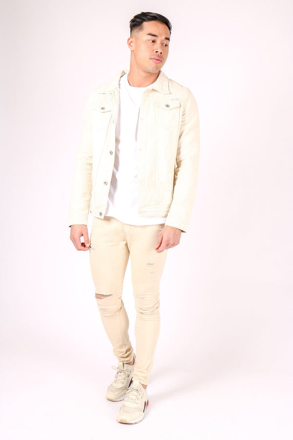 Norton slim fit denim jacket in ecru
