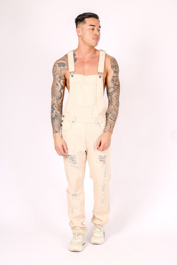 LOUISIANA RELAXED DENIM DUNGAREE IN LIGHT ECRU