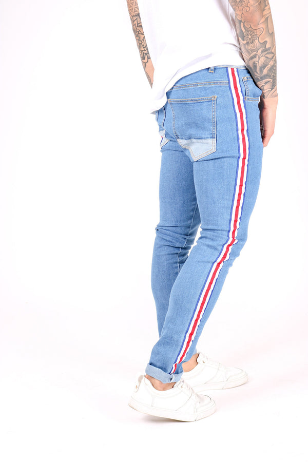 Logan skinny jeans with retro sports stripe taping - Liquor N Poker  Liquor N Poker
