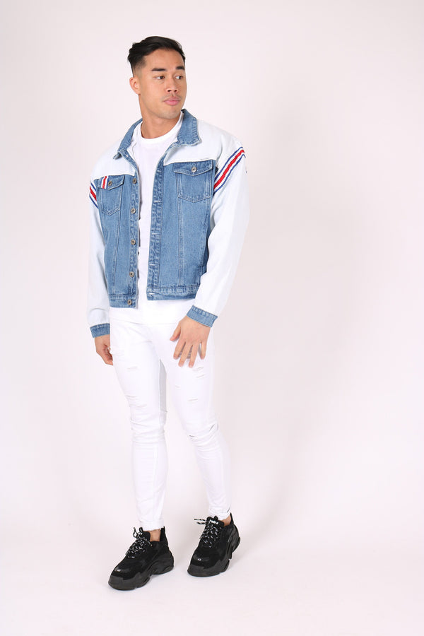 Rio oversized denim jacket with sports stripe