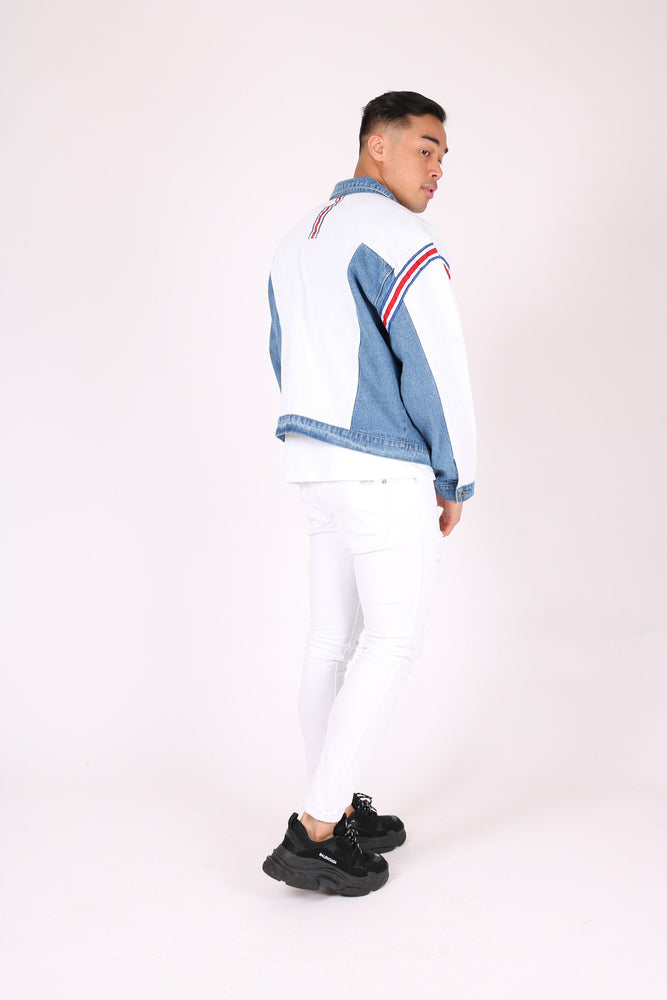 Rio oversized denim jacket with sports stripe - Liquor N Poker  LIQUOR N POKER