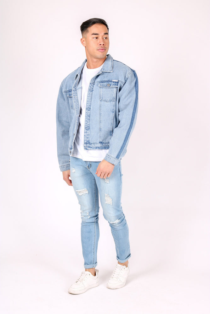 Jaden oversized denim jacket in vintage stonewash with contrast side fade - Liquor N Poker  LIQUOR N POKER
