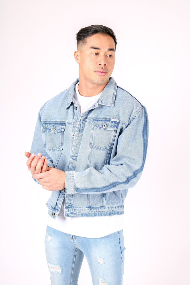 Load image into Gallery viewer, Jaden oversized denim jacket in vintage stonewash with contrast side fade - Liquor N Poker  LIQUOR N POKER