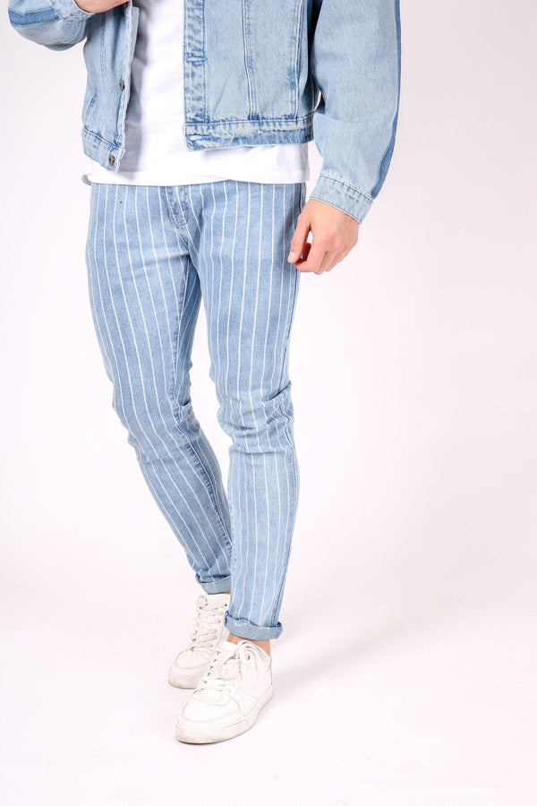Logan super stretch skinny jeans in vintage stonewash with pinstripe - Liquor N Poker  Liquor N Poker