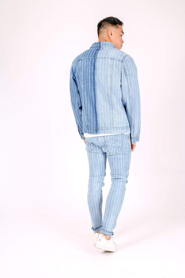 Norton slim fit denim jacket in half half pinstripe