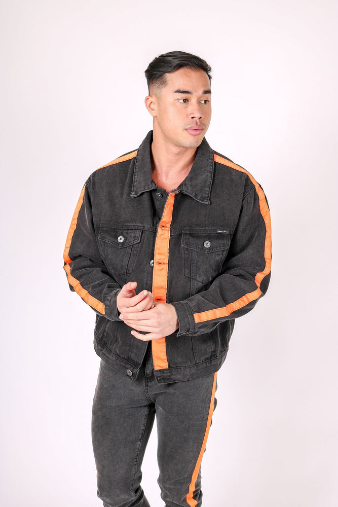 Oversized Black Denim Jacket With Orange Stripe - Liquor N Poker  LIQUOR N POKER