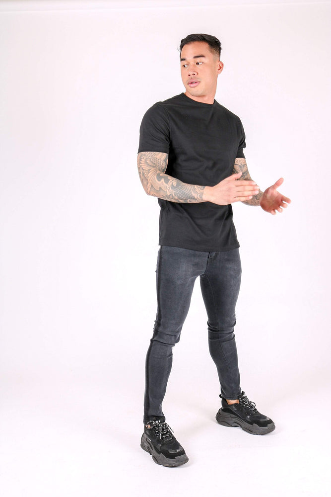 LOGAN SKINNY JEANS WITH PINCH FADE DETAIL - Liquor N Poker  LIQUOR N POKER