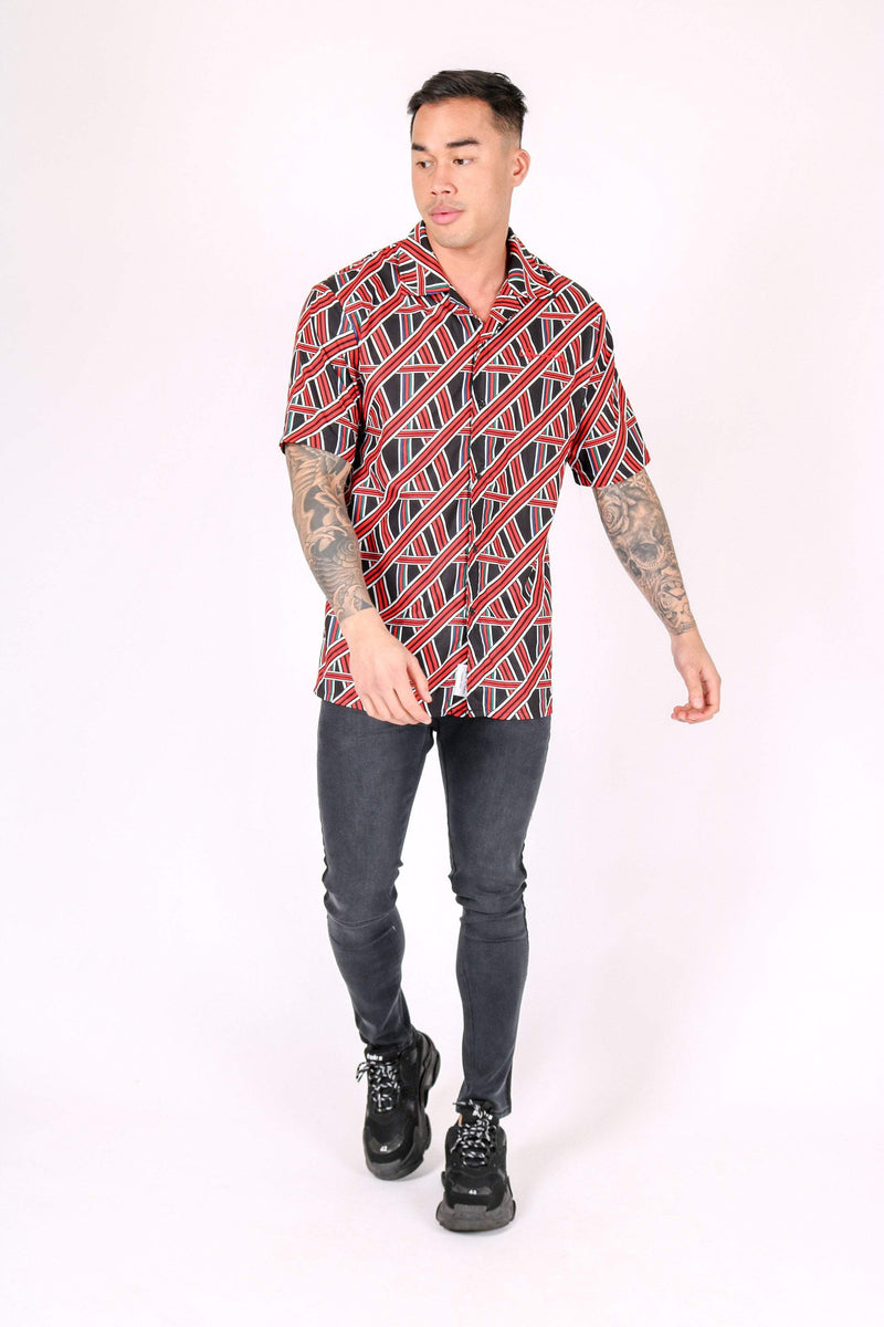 REVERE COLLAR SHIRT IN GEOMETRIC RED PRINT