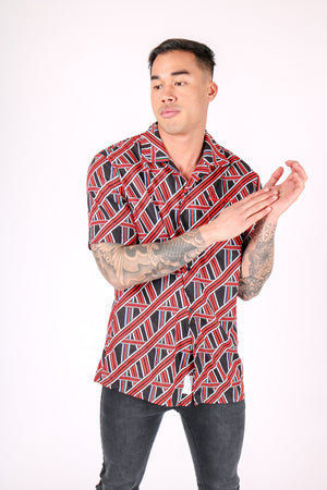 Load image into Gallery viewer, REVERE COLLAR SHIRT IN GEOMETRIC RED PRINT - Liquor N Poker  LIQUOR N POKER