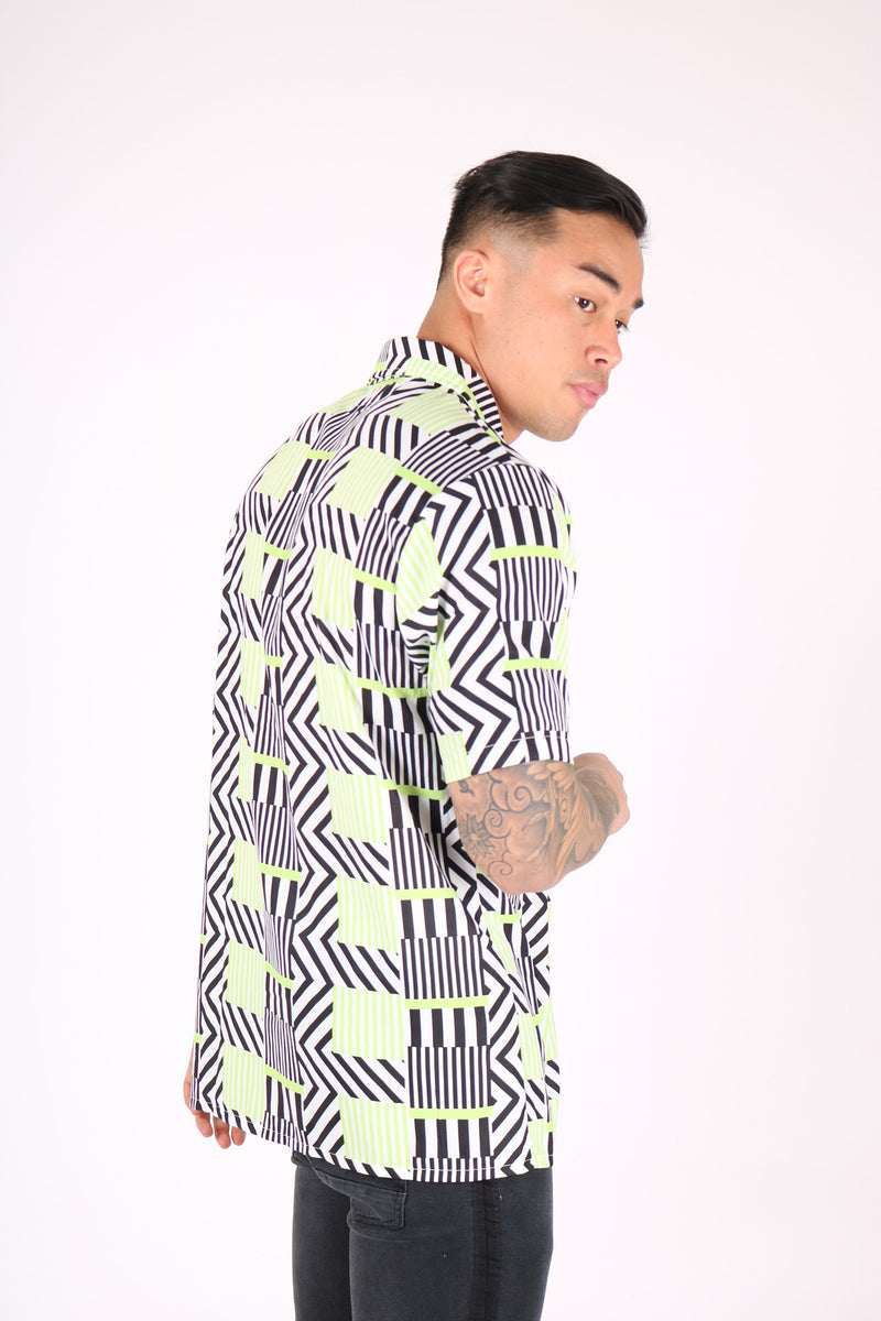 REVERE COLLAR SHIRT IN GEOMETRIC LIME PRINT